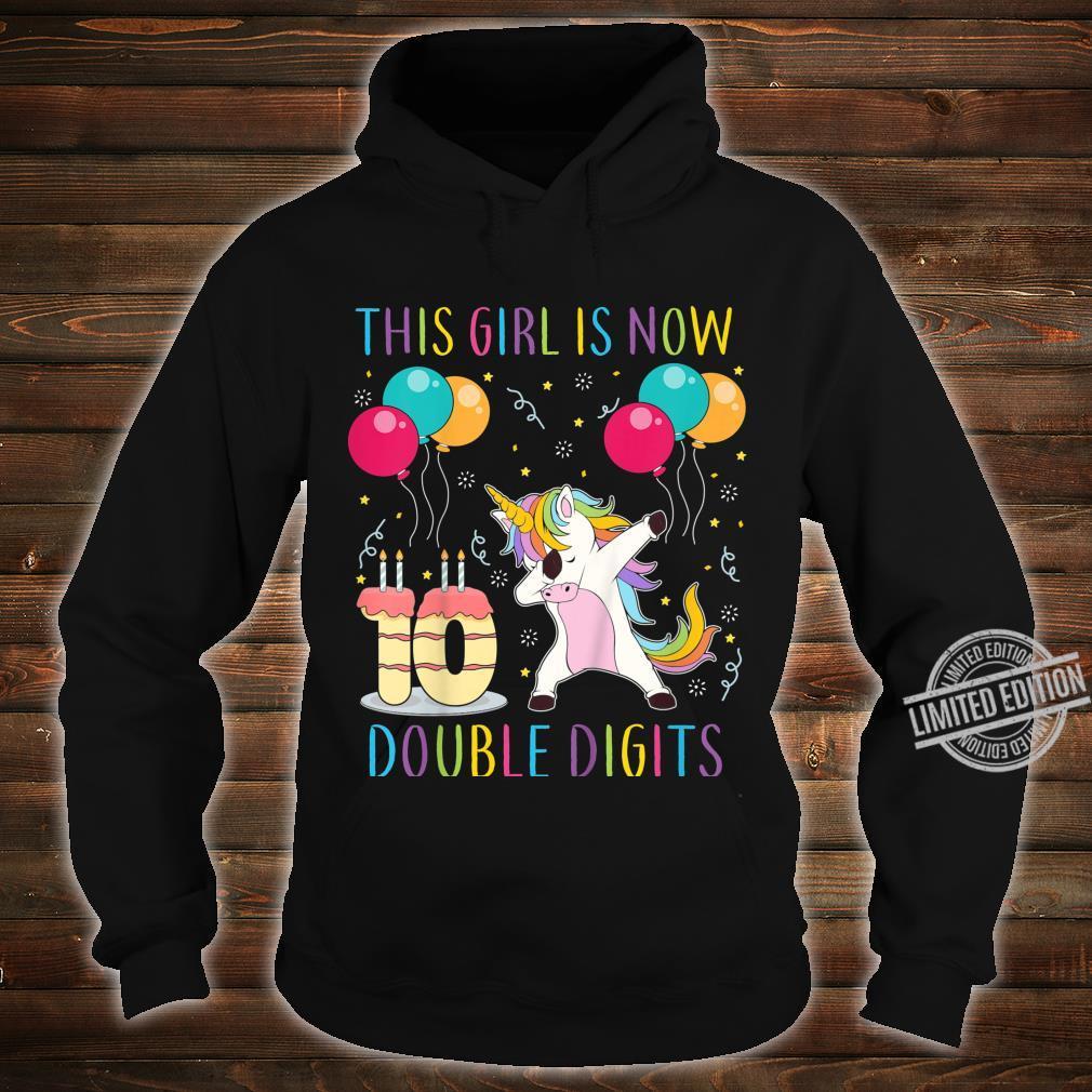 Kids Double Digits Birthday Girl 10 Dabbing Unicorn Party 10th Shirt hoodie