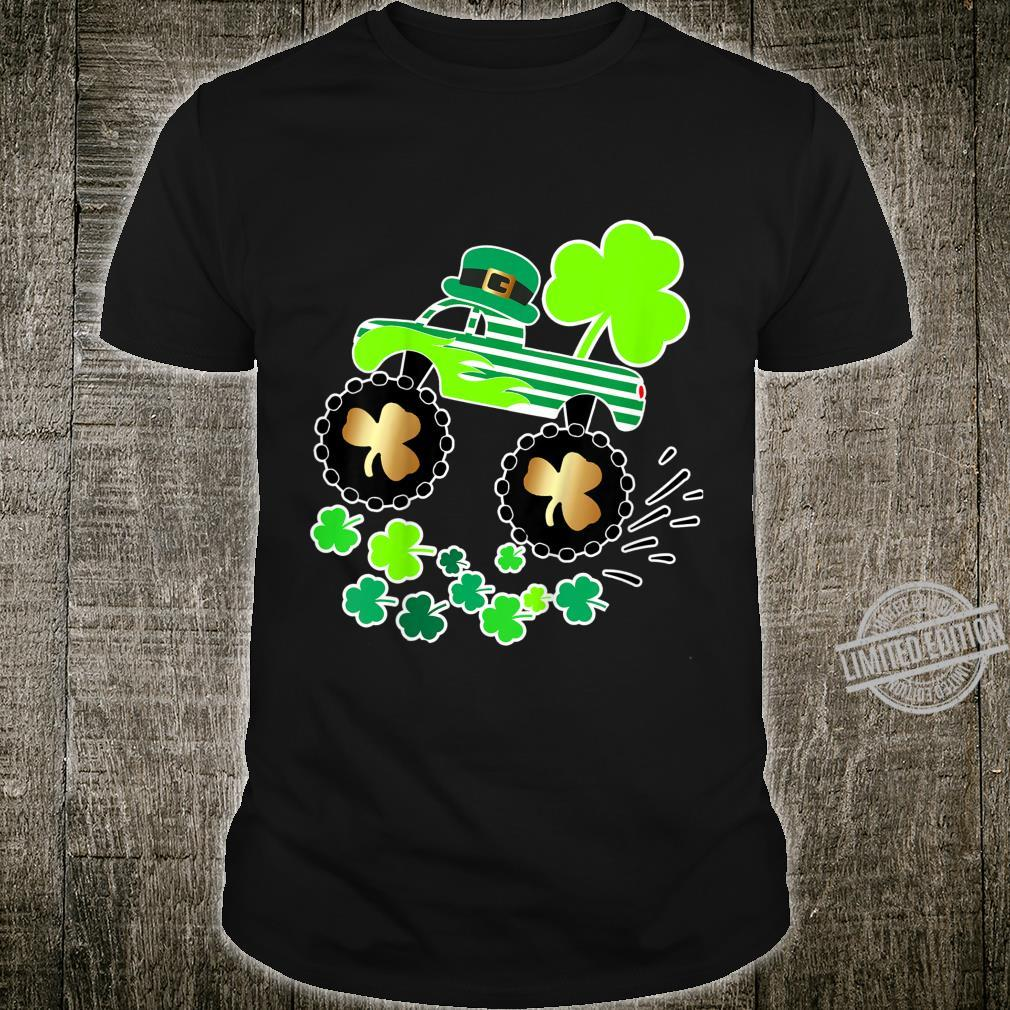 Kids St Patricks Day Leprechaun Monster Truck Shirt