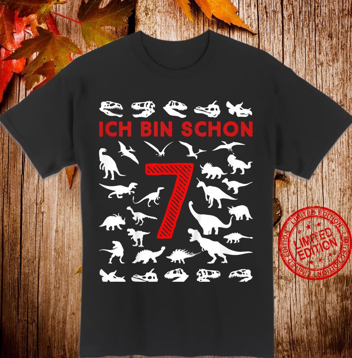 Kinder 7. Geburtstag Junge Dinosaurier Silhouette Ich bin Sieben Shirt