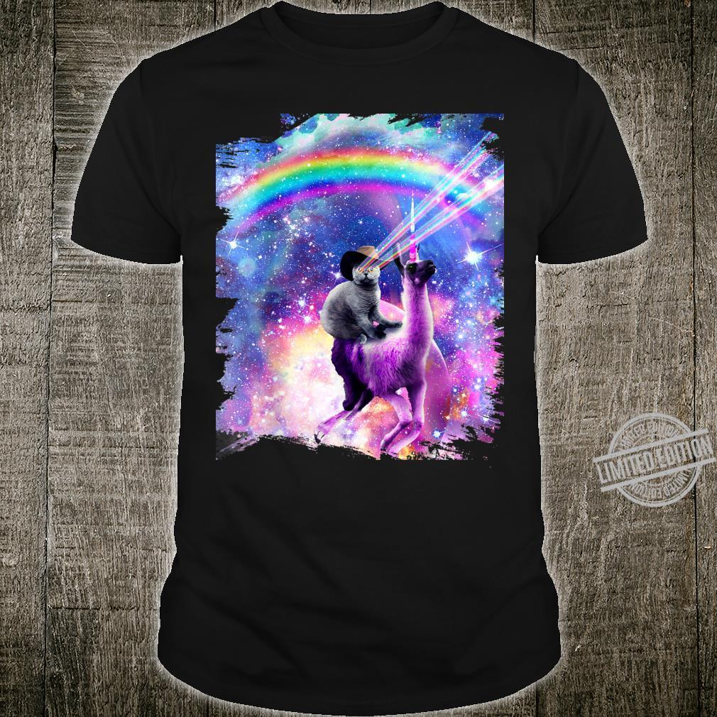 Laser Galaxy Space Cat On Rainbow Llama Unicorn Shirt