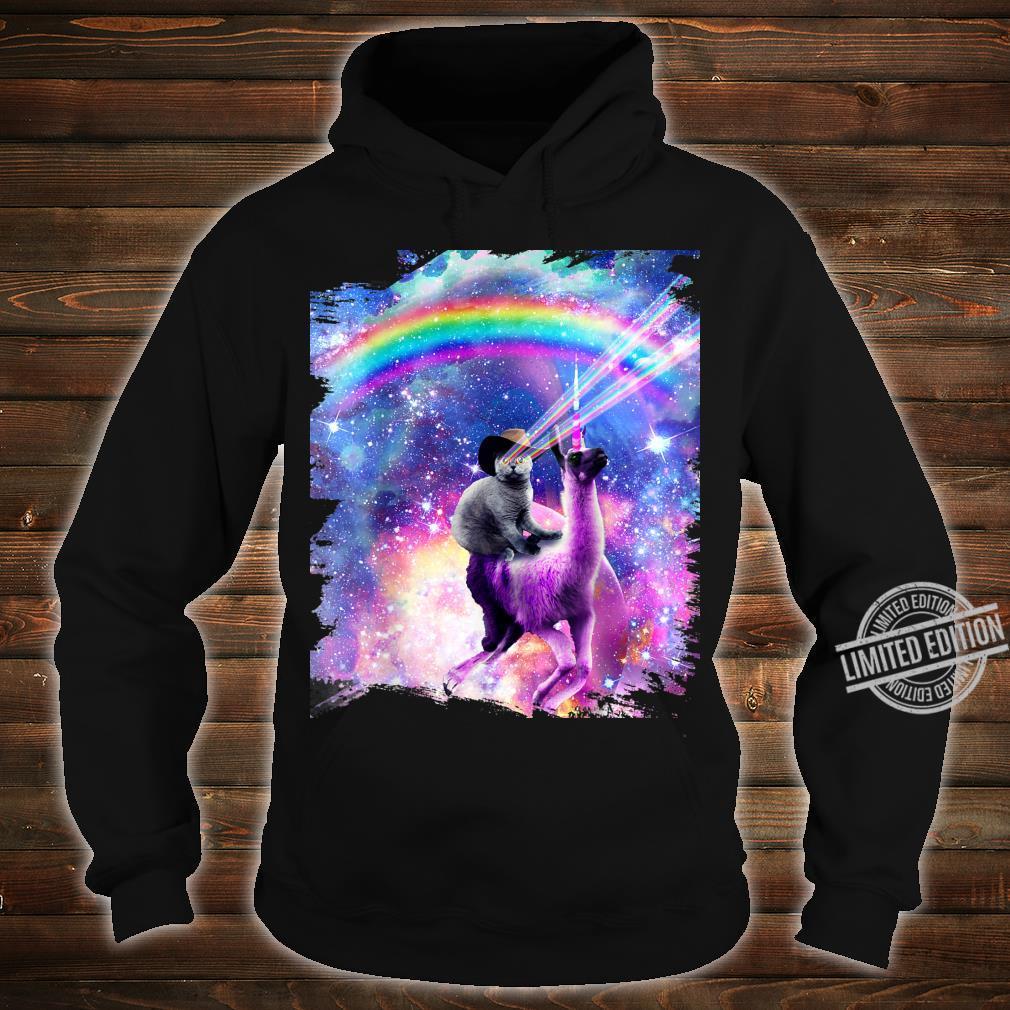 Laser Galaxy Space Cat On Rainbow Llama Unicorn Shirt hoodie