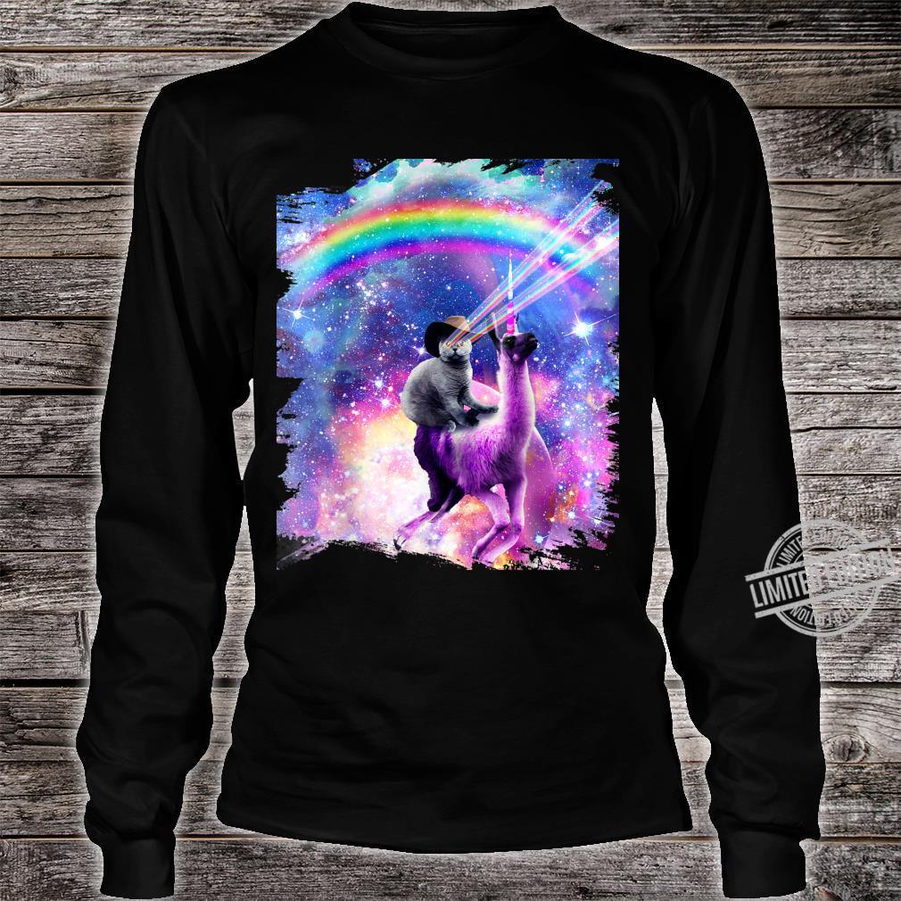 Laser Galaxy Space Cat On Rainbow Llama Unicorn Shirt long sleeved
