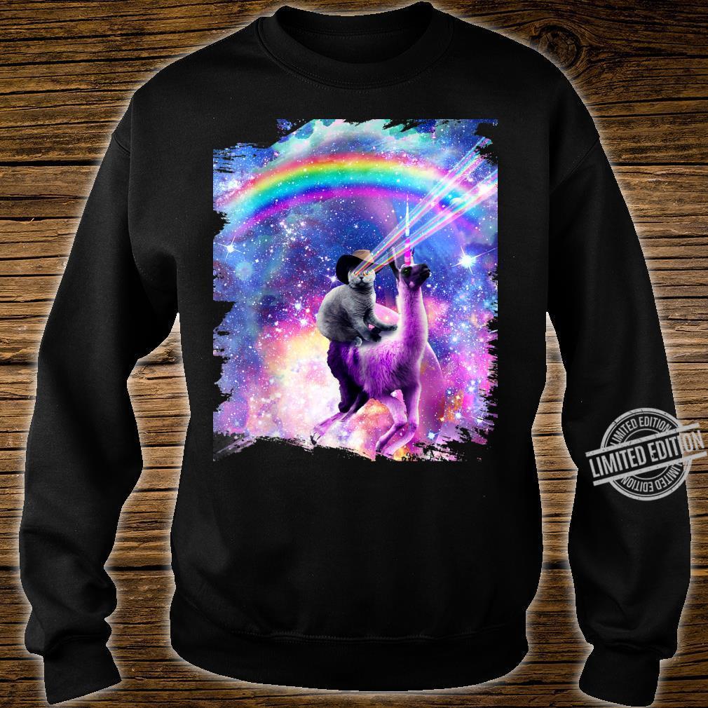 Laser Galaxy Space Cat On Rainbow Llama Unicorn Shirt sweater