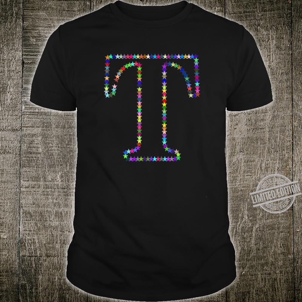 Letter T Initial Letter Name Monogram Colourful Stars Shirt