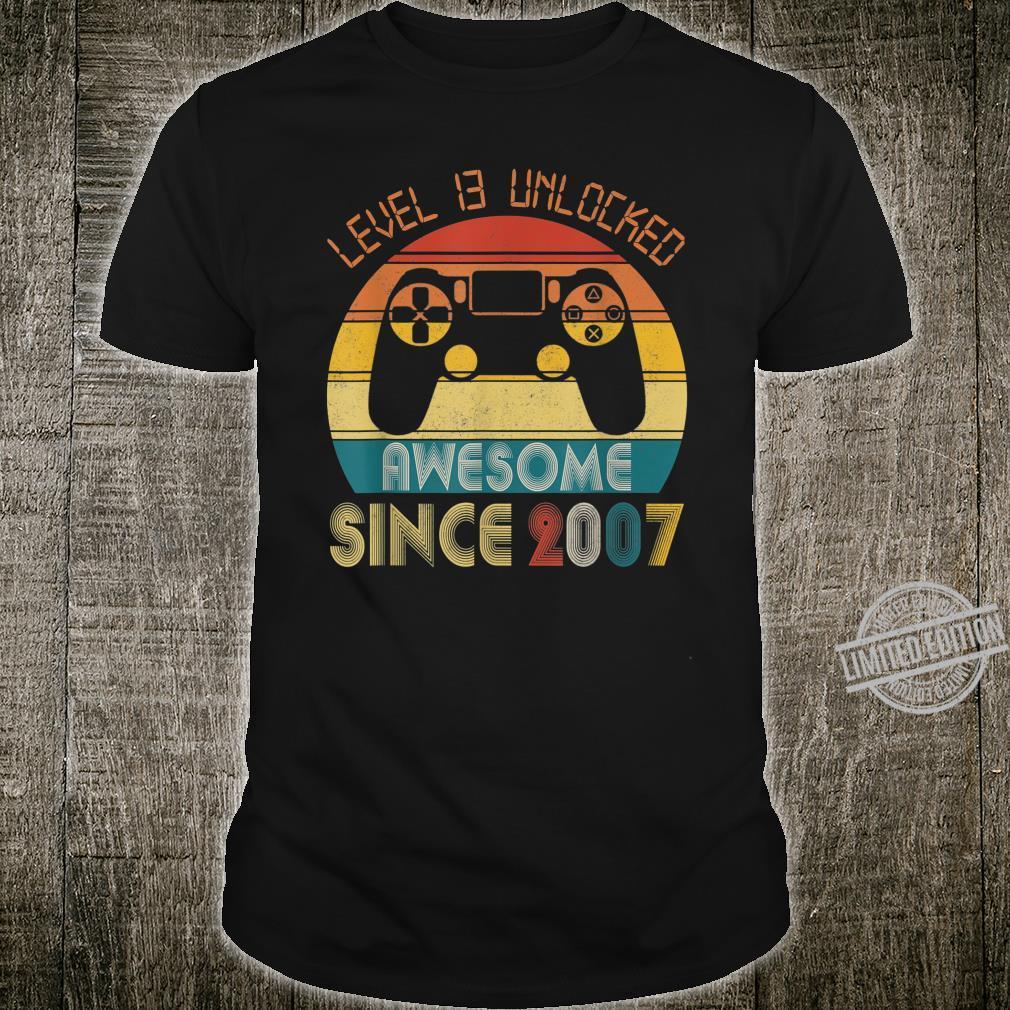 Level 13 Unlocked 13th Birthdaynager Gamer Shirt