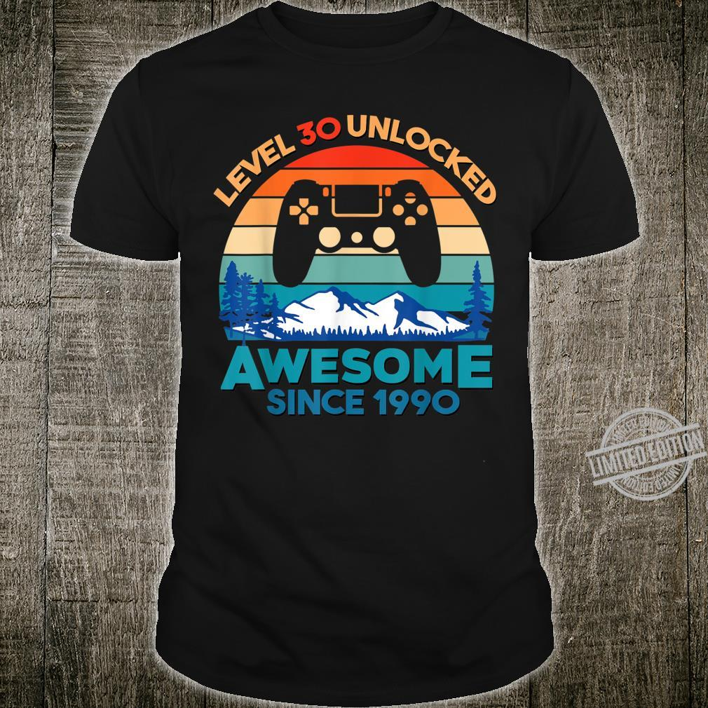 Level 30 Unlocked Birthday 30 Years Old Awesome Since 1990 Shirt