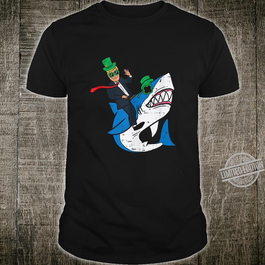 Mens Donald Trump Riding Irish Shark St Patricks Day Shirt