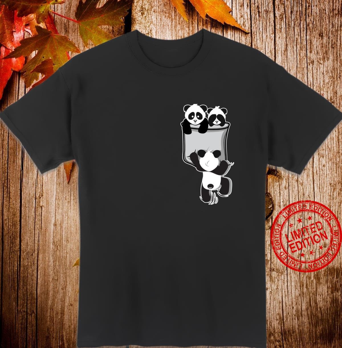 Panda Love Animal Panda In The Pouch Chest Pocket Shirt