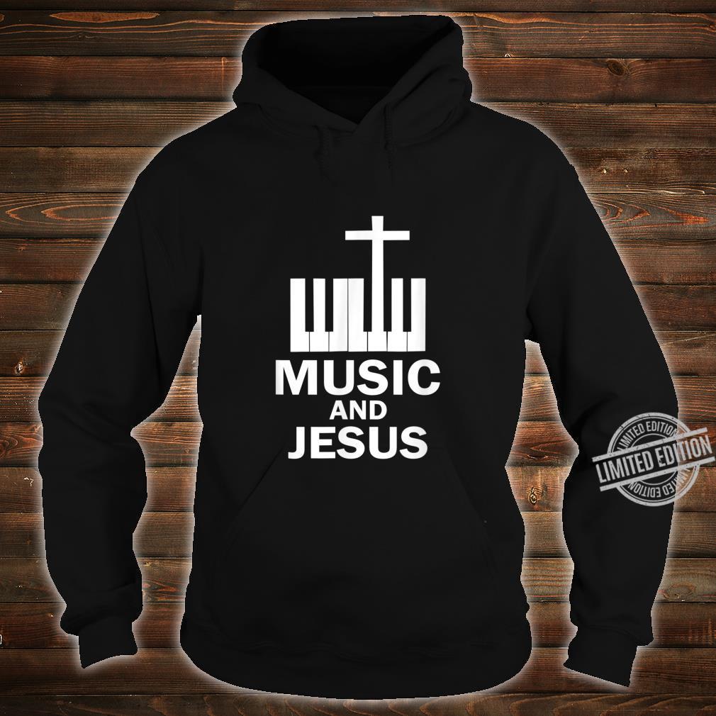 Piano Keyboard and a Cross Christian Band Shirt hoodie