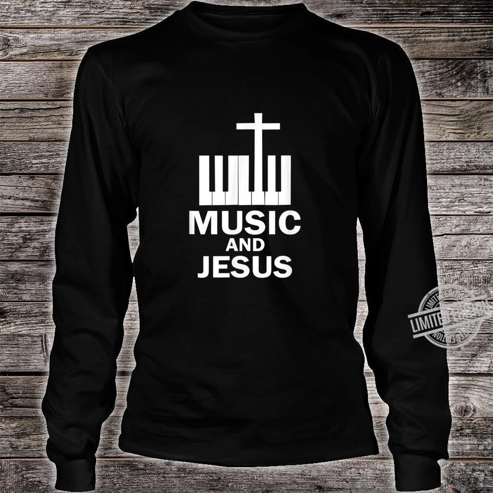 Piano Keyboard and a Cross Christian Band Shirt long sleeved