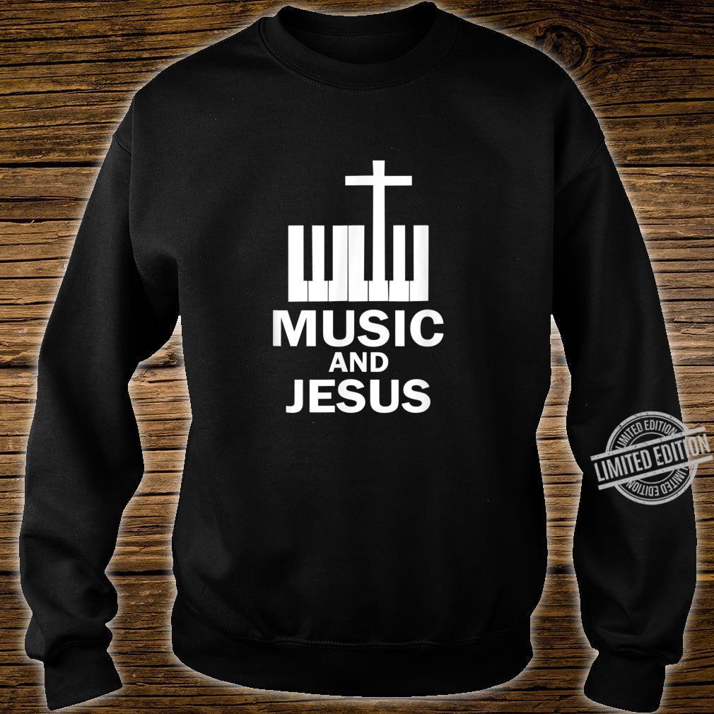 Piano Keyboard and a Cross Christian Band Shirt sweater