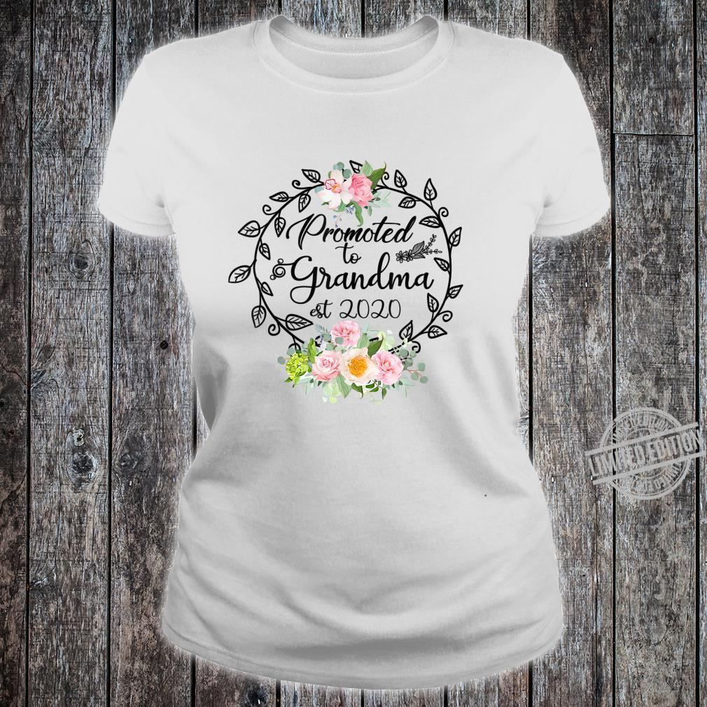 Promoted to Grandma Est 2020 Floral First Time Grandma Shirt ladies tee