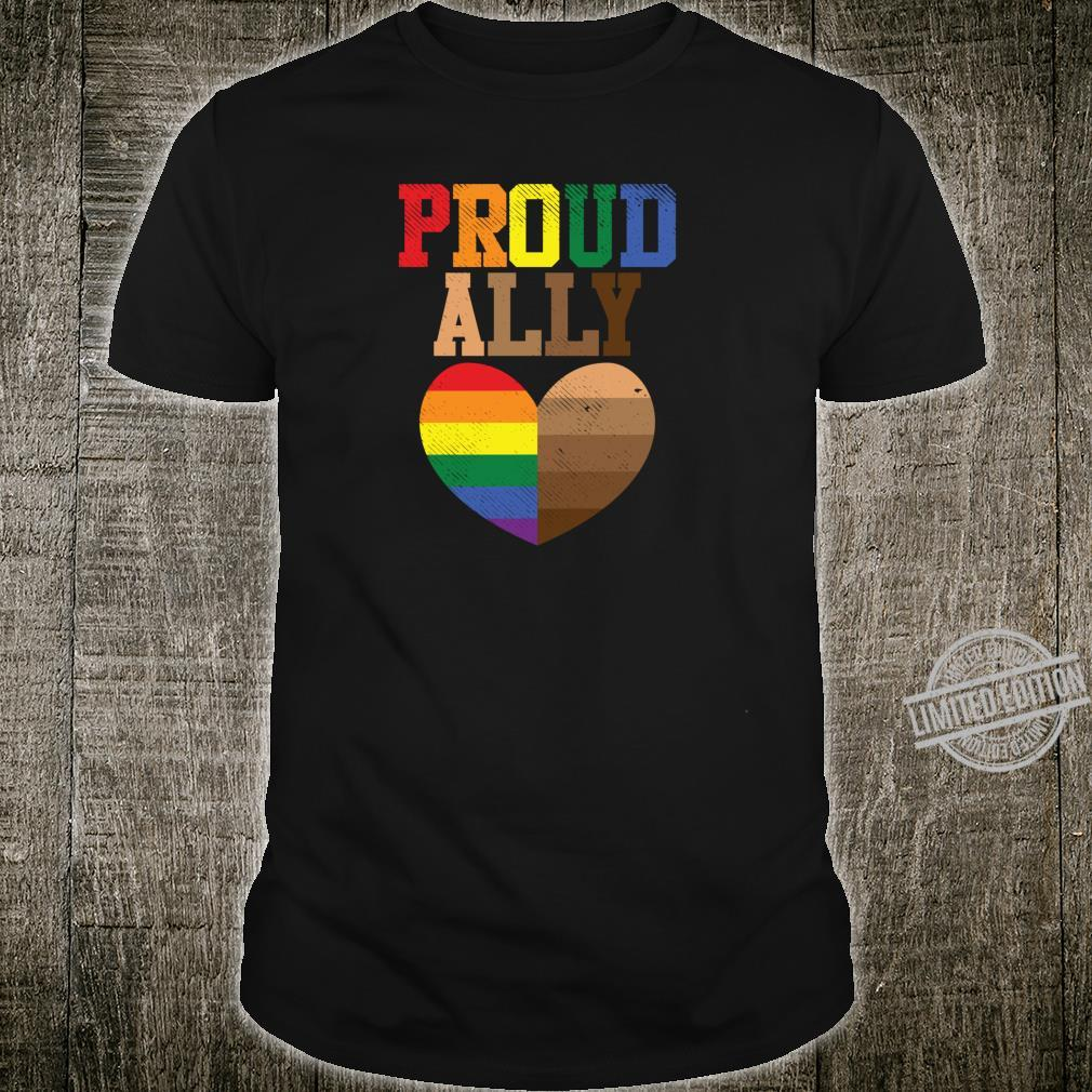 Proud Ally Rainbow Black Pride Heart Love Equality LGBT Shirt