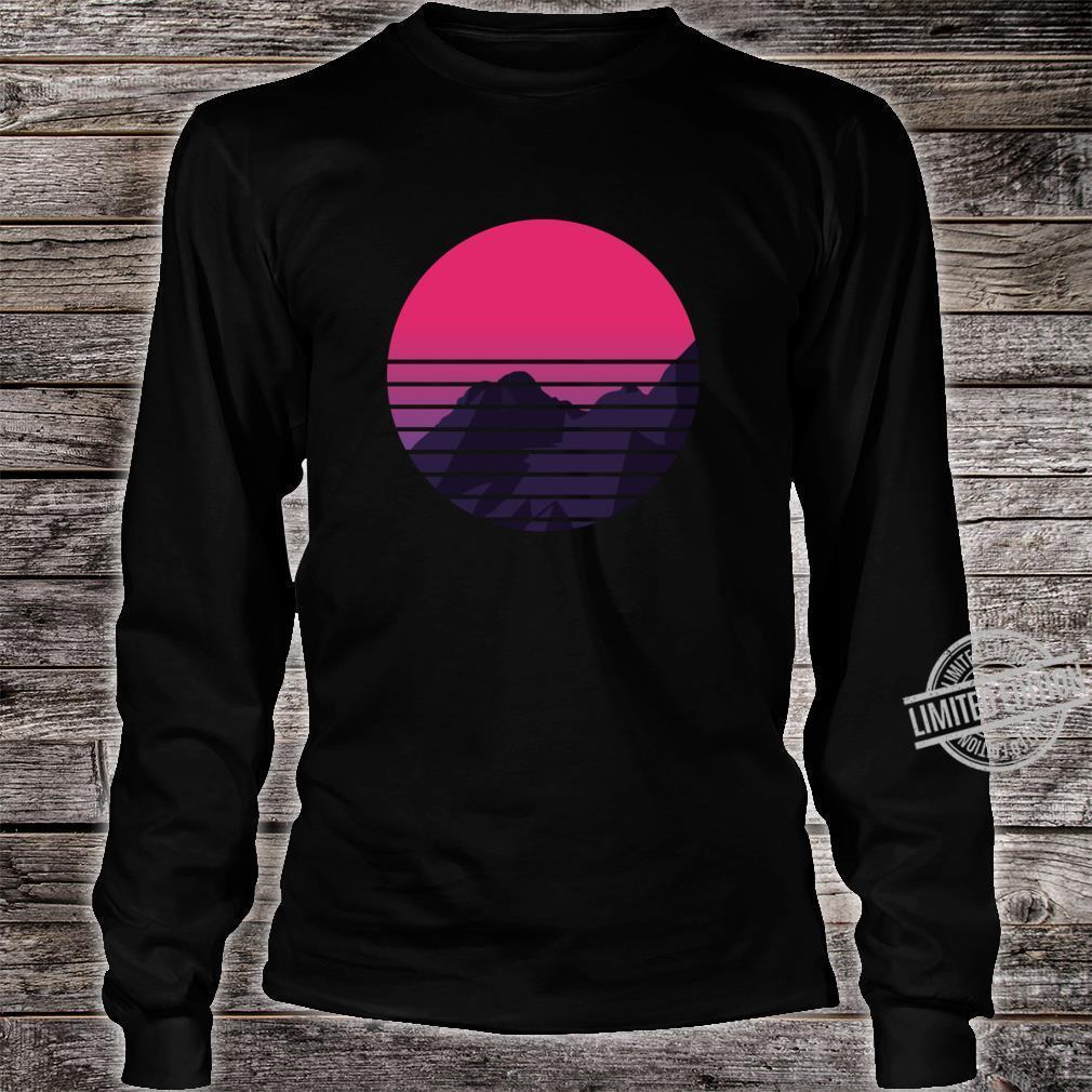 Retro Sunset Mountain Vaporwave Retrowave Aesthetic Clothing Shirt long sleeved