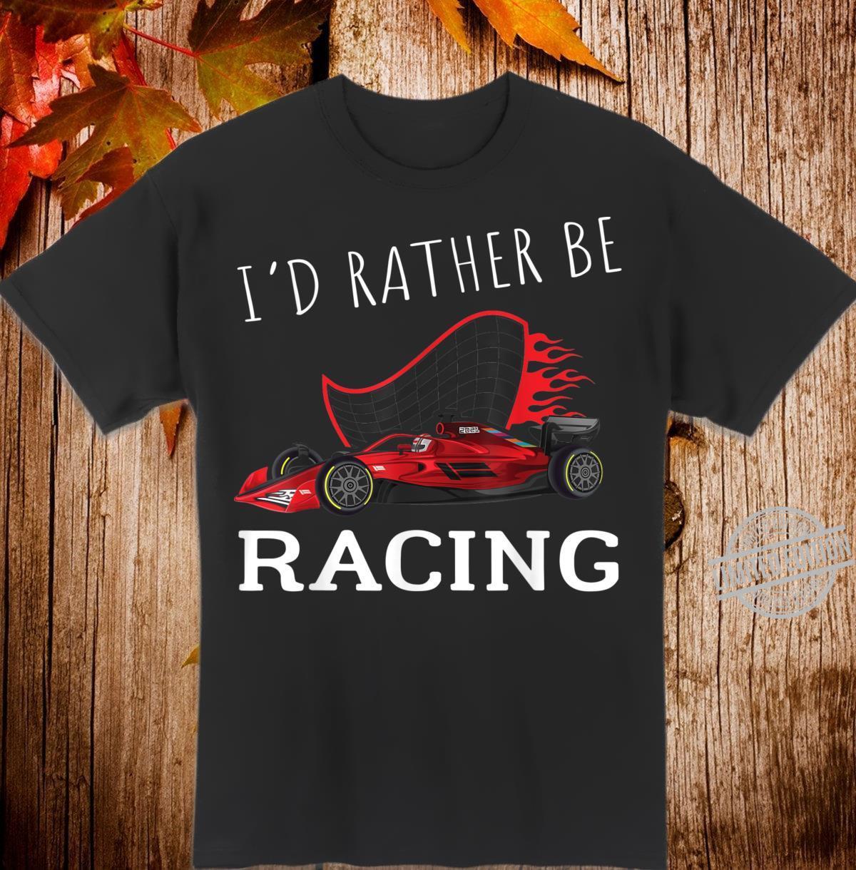 Retro Vintage Sunset I'D Rather Be Racing Formula Racing Shirt