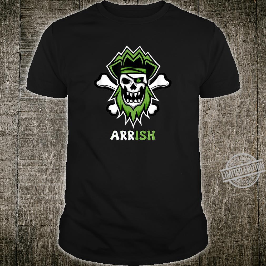 Skull And Crossbone Irish Green Pirate Jolly Roger Shirt