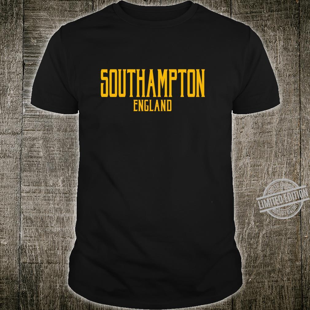 Southampton England Vintage Text Amber Print Shirt