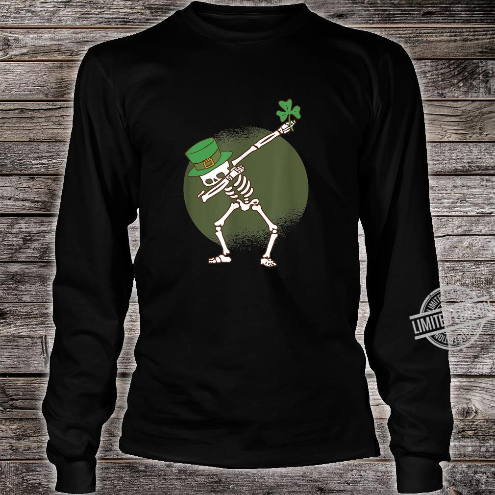 St Patricks Day Dabbing Irish Skeleton Dab Shirt long sleeved