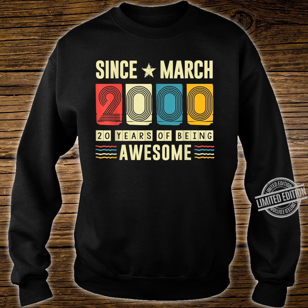 Vintage Awesome Since March 2000 20 Years Old Birthday Shirt sweater