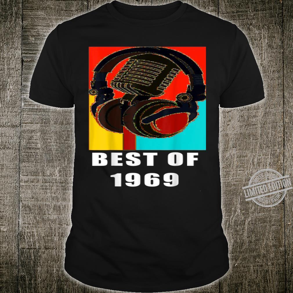 Vintage Best Of 1969 51st Birthday Mic Microphone Headphone Shirt