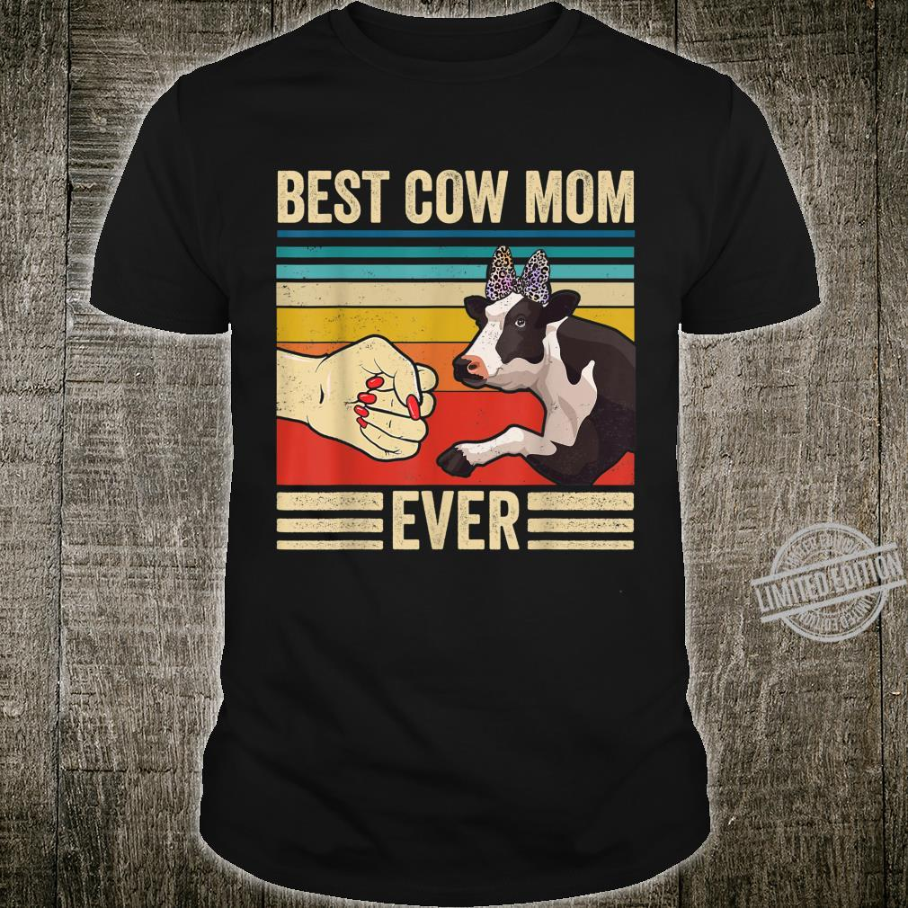 Vintage Cow Mom Fist Bump Farmer Mothers Day Shirt