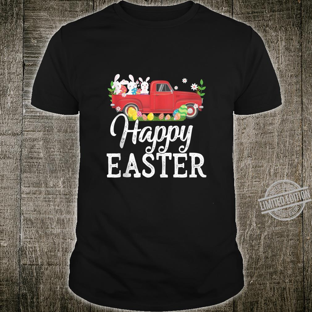 Vintage Red Truck With Egg Hunting Easter Bunny Happy Easter Shirt