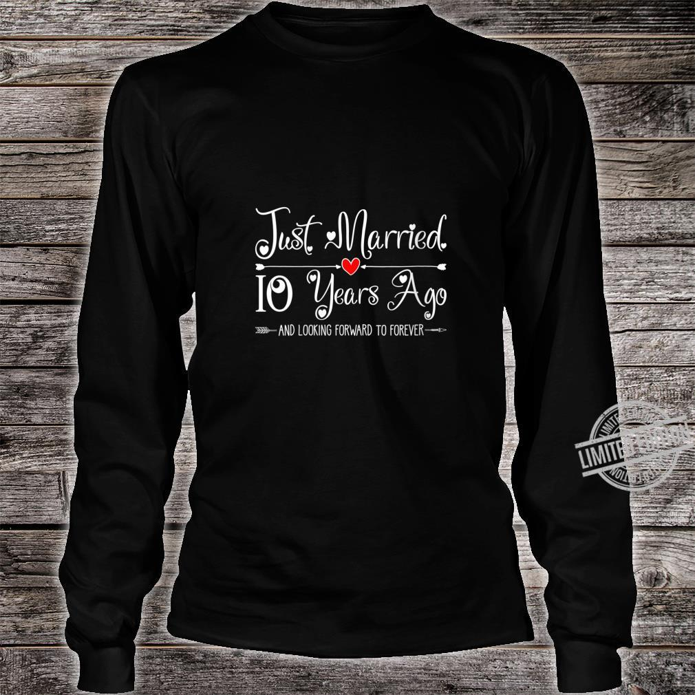Womens 10 Years Wedding Anniversary Idea for Him & Her Couples Shirt long sleeved