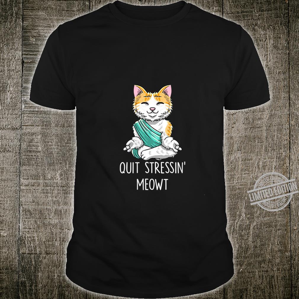 Womens Quit Stressin' Meowt Cat Lotuus Pose Cute Yoga Shirt
