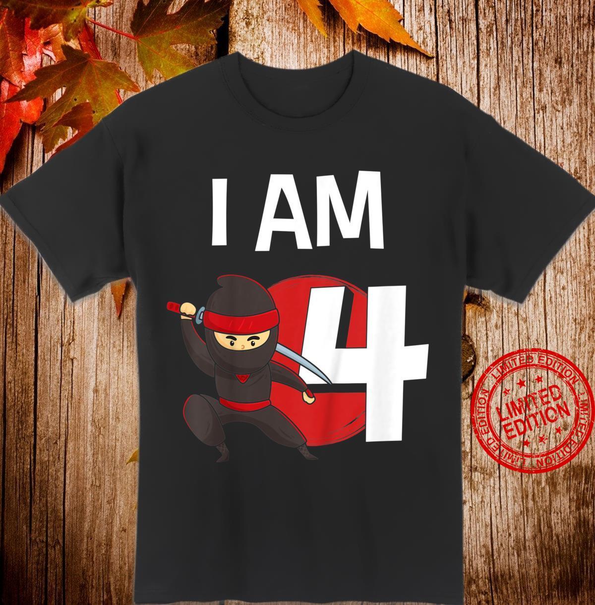 Youth 4th birthday children's birthday fourth birthday ninja Shirt